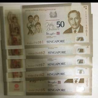 AA Prefix SG50 Commemorative Notes
