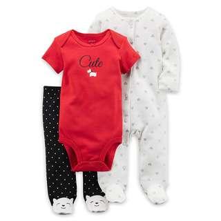 CARTER'S Baby Girl 3 Pc Bodysuit Onesie Pants PJ Sleepsuit Set Red Polka 6M