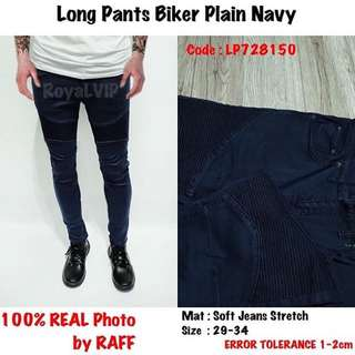 Biker Plai Navy Jeans