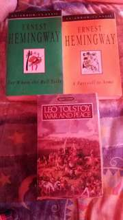 Ernest hemmingway and leo tolstoy bundle