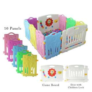 🔥RS🔥10 Panels Baby Safety Play Yard (8 Panels + 1 Game Wall + 1 Door)