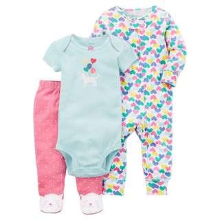 CARTER'S Baby Girl 3 Pc Mint Bodysuit Pink Pants PJ Heart Sleepsuit Set 6M