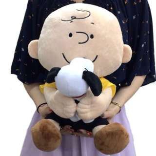 Peanuts Charlie brown and snoopy hug Cushion plush, Soft  - Original