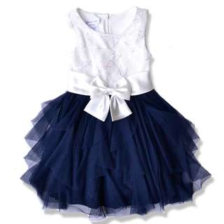 Bonnie Jeans Sleeveless Classic Dress with big ribbon 4-16y