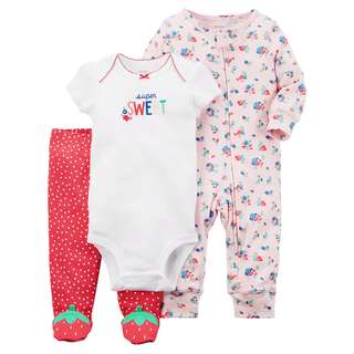CARTER'S Baby Girl 3 Pc White Bodysuit Red Pants PJ Floral Sleepsuit Set 6M