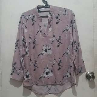 Light/Pale Pink Floral Long Sleeves Top