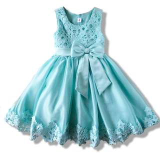 Blue Flower Girl Tulle Dress with Big Ribbon