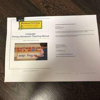 Montessori language teaching manual print-out