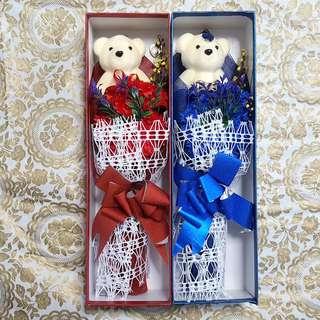BN Carnation Bouquet w Bear