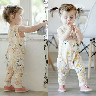Newborn Baby Girl Sleeveless Floral Jumpsuit.