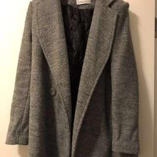 韓國 毛呢大翻領 外套大衣