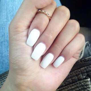 White Fake Acrylic Nails (Full) 50/100 PCS