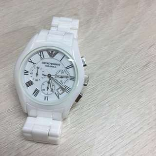 EMPORIO ARMANI  白陶瓷手錶 AR1403