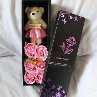 Teddy Bear with Flower (made of soap)