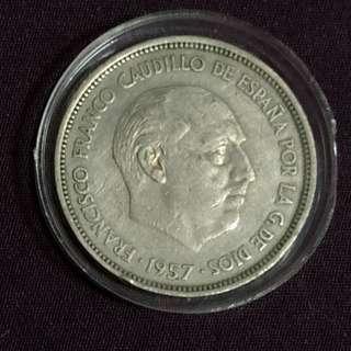 1957年西班牙巨鷹國徽鎳幣