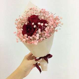 Red Rose with Pink Baby Breath with Korean Pink Wrapping