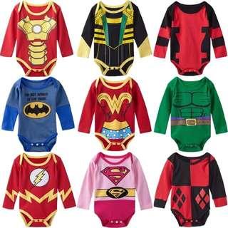 Baby boy baby girl superhero friendly villain romper 6 to 18 mths