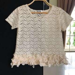 Bowtique Beige Crochet Top (Size S)