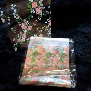 New Peach Floral Cookie Plastic Pouch 10cm