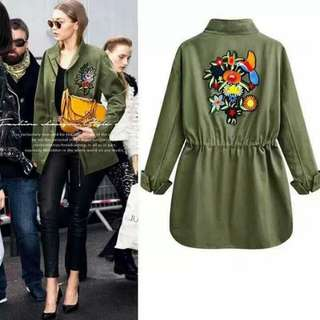 Green Thick Embroidery Jacket