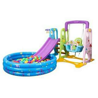 Kids Slide And Swing/ Add Inflatable Pool.👌👌👌