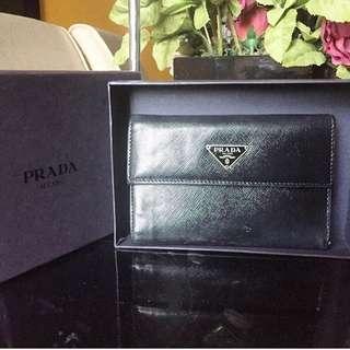 Authentic PRADA Black Leather Long Purse Wallet