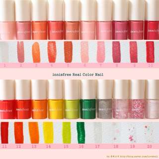 Innisfree Real Nail Color 6ml | Nail Polish Care Art Pink Red Yellow Green Glitter Shimmer Sliver Love Confetti Summer