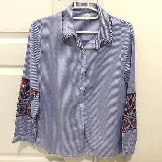 🚚 直條紋/刺繡花紋/襯衫