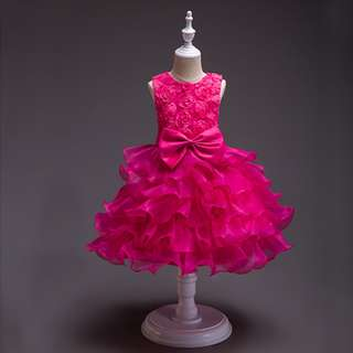Girl's Princess Flower Layer Dress 6mth-10y Pink