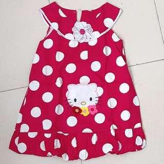Polka dot Hello Kitty Dress for Little Girl