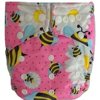 Clodi Popok Kain Bayi Babyland Snap Microfiber Cloth Diaper - Pink Bee