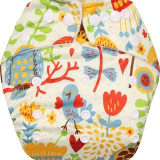 Clodi Popok Kain Bayi Babyland Snap Microfiber Cloth Diaper - Flower Bird