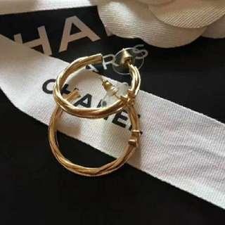 Chanel 雙C大圈耳環