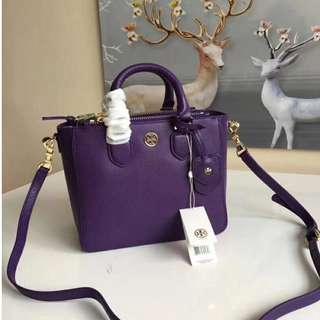 Tory Burch Robinson Pebbled Mini Tote Bag Purple