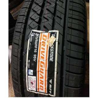 215/60/16 普利司通 Drive-Guard 2017防爆輪胎破盤安裝價 耐磨指數500 私訊-700洽詢優惠價