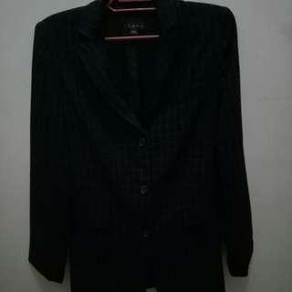 Striped dark colored blazer