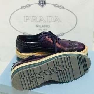 Prada Women's Classic Brogue Wingtip Purple