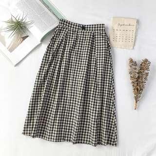 Midi Checkered Skirt
