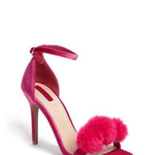 Faux Fur Velvet Strappy Heels