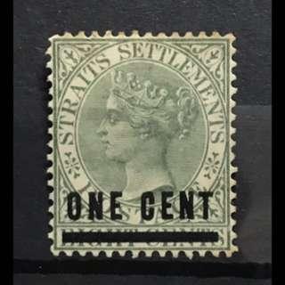 Straits Settlements 1c Overprint green Queen Victoria stamp mint