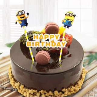 Minions Happy Birthday Bunting Cake Topper Decoration Cupcake