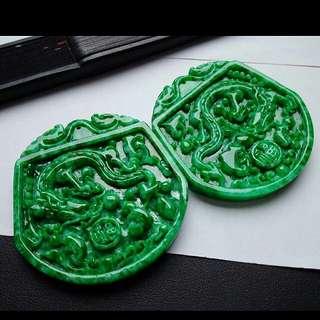 🏵️精品!!! Grade A 好种 Full Green Prosperity Dragon 龙牌 Jadeite Jade Pendant🏵️
