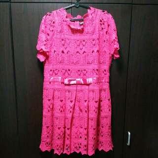 Plus size fuchsia pink dress