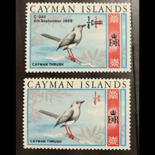 Cayman Islands Bird stamp same value diff print mint