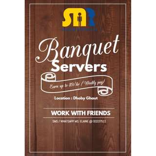 x20 PAX Banquet Servers Wanted @ Dhoby Ghaut | $9 per hour | Can work with friends | Payout on 09/02