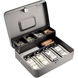 Metal Cash Box with Lock (Portable) [Dual Tier]