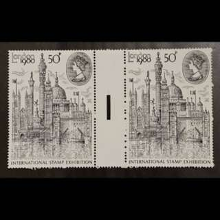 UK London stamp Exh gutter pair mint stamps