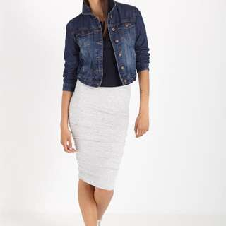 Cotton on luxe rouched grey midi skirt