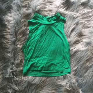 Green Turtleneck Crop