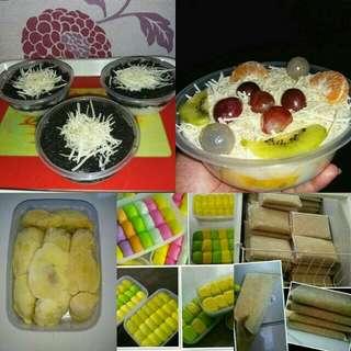 Salad buah, oreo cheese cake lumer, pancake durian, daging durian